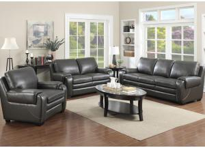 Image for Matera Gray Sofa & Loveseat - *Leather Match is top grain leather with vinyl sides