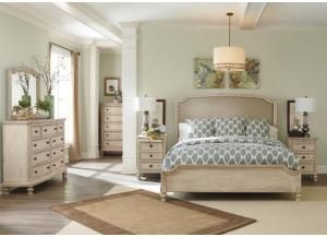 Demarlos Queen Upholstered Panel Bed, Dresser, Mirror & Nightstand